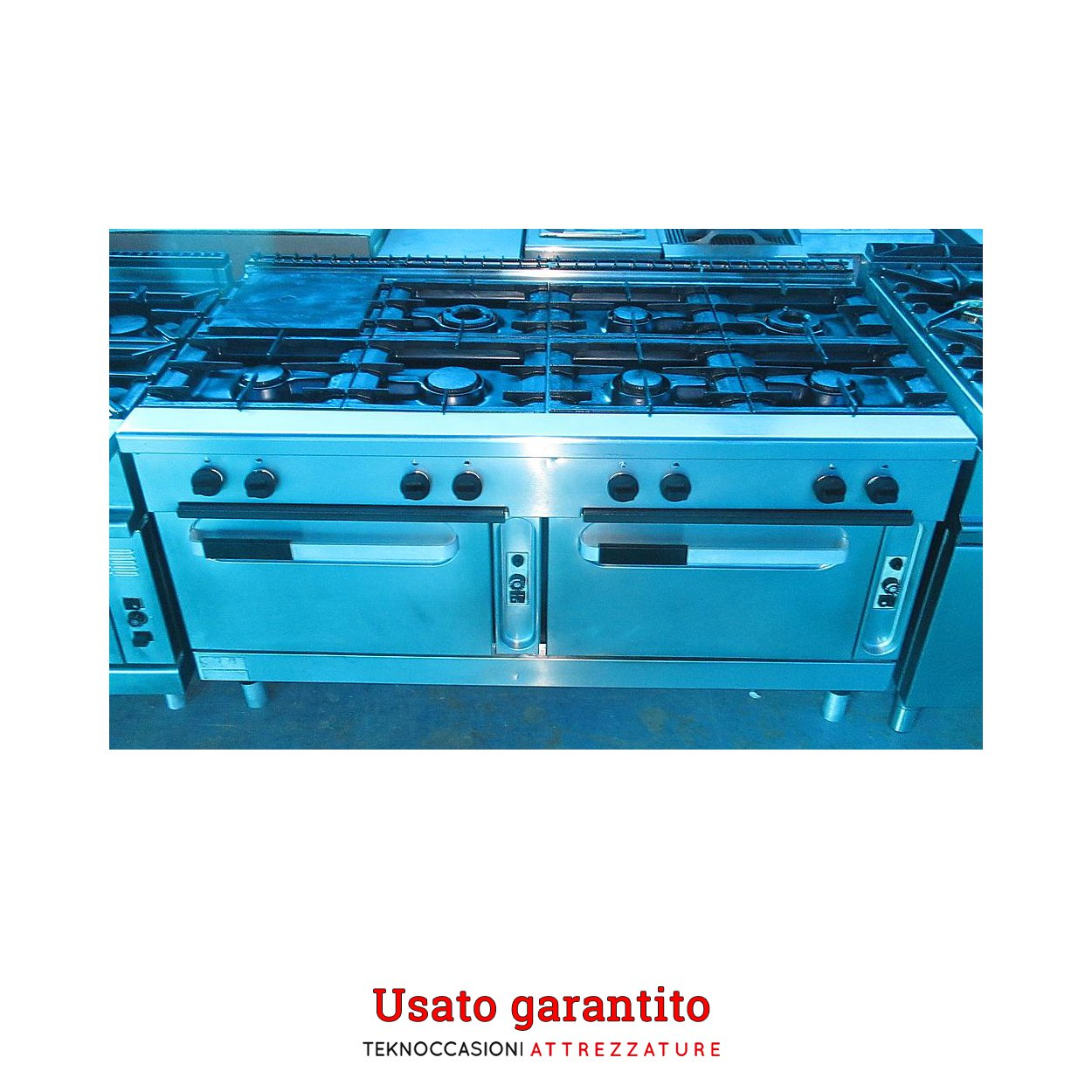 Cucina a gas 8 fuochi 2 forni Zanussi