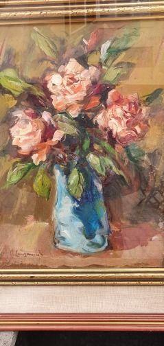 N. Canzanella - Vaso di fiori. Quadro a olio