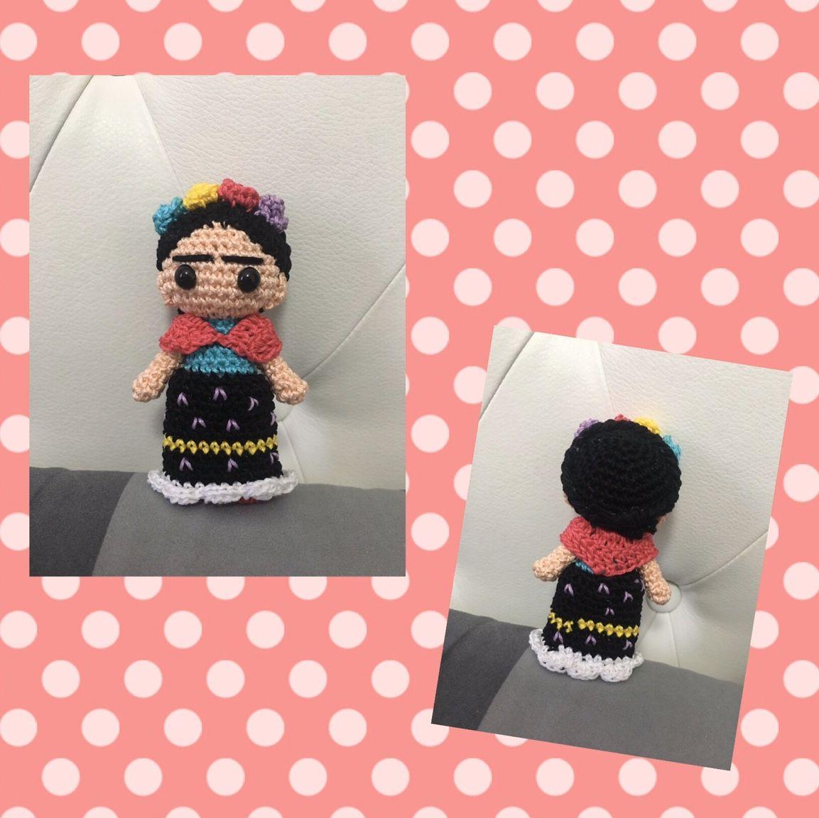 Portachiavi Frida Kahlo kawaii crochet