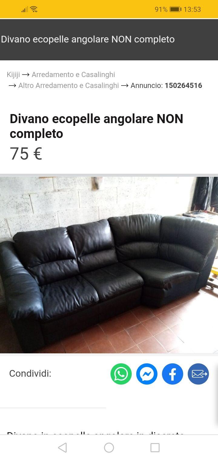 Vendo 2/3 divano (incompleto) in ecopelle 50 euro
