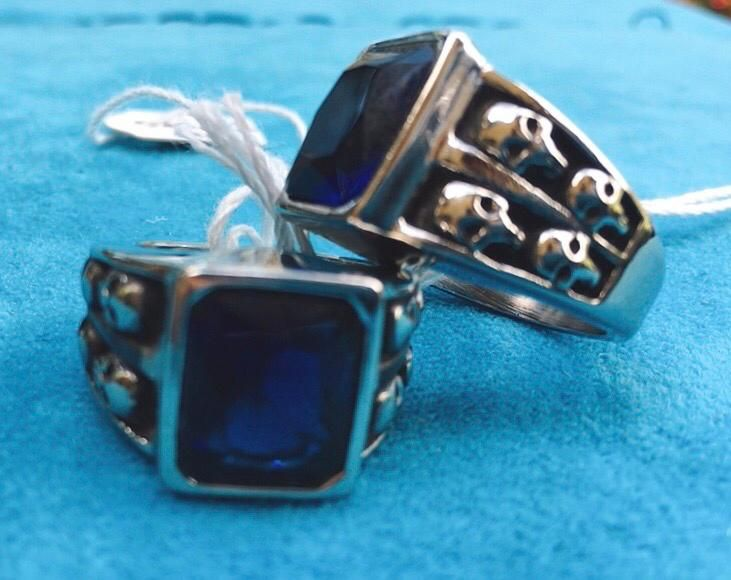 Anello Acciaio Cristallo Blu Ane17