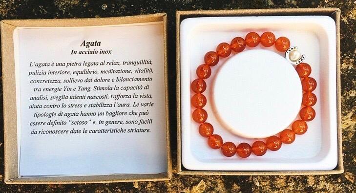 Braccialetto in Agata Rossa BAga08