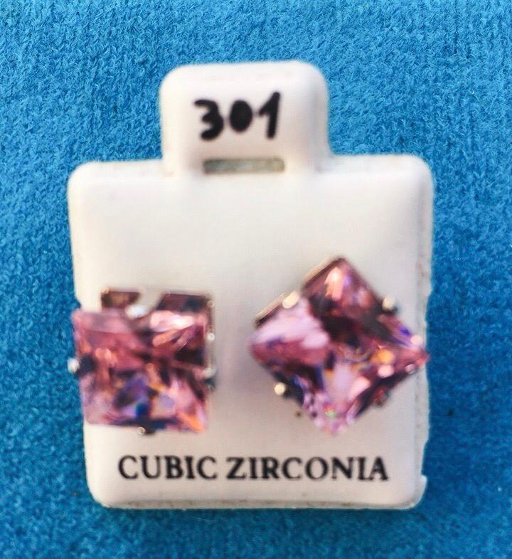 Coppia Orecchini Cristalli Rosa CZ301