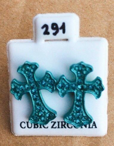 Coppia Orecchini Croci Azzurre CZ291