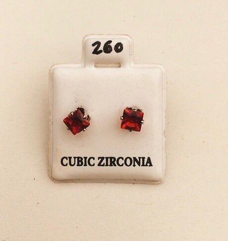 Orecchini Cristalli Rossi Quadrati CZ260