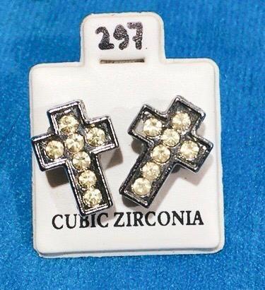 Coppia Orecchini Croci Strass CZ297