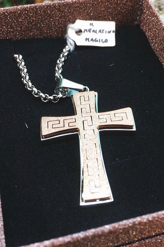Collana Acciaio Croce Rosata CAc07