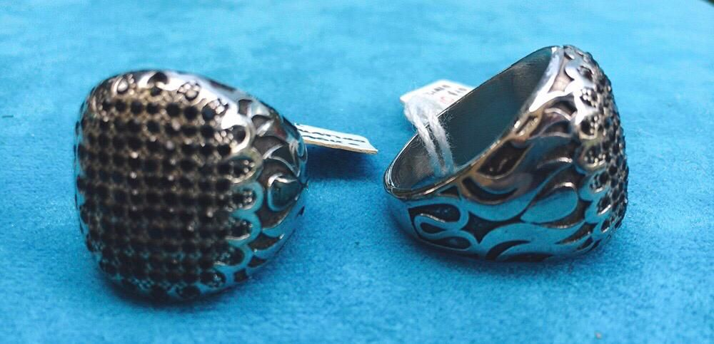 Anello Acciaio Griglia Cristalli  Ovale Ane11