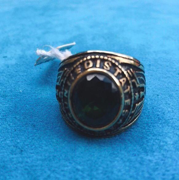 Anello Acciaio Dorato Cristallo Verde Ane15