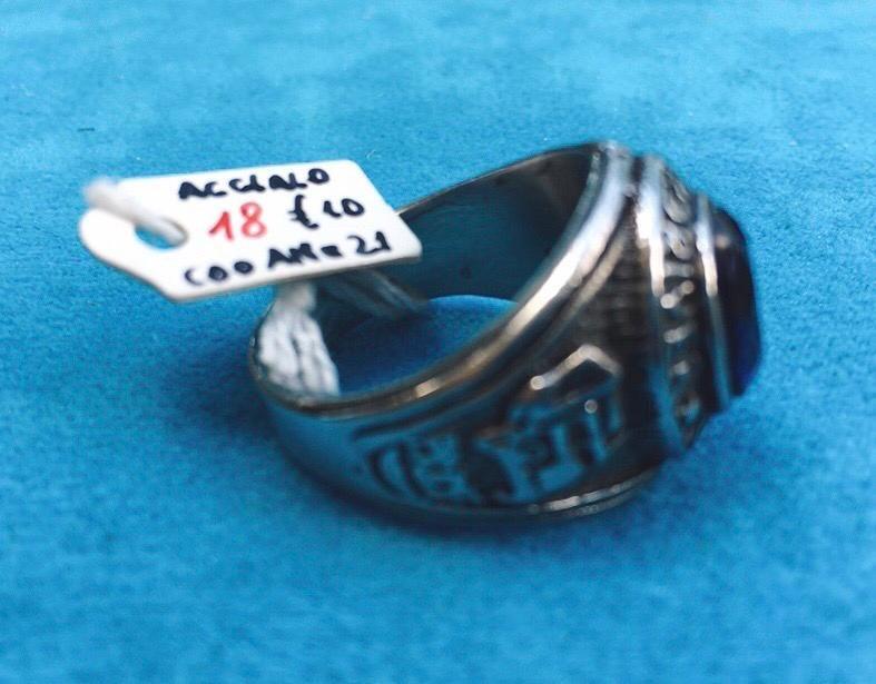 Anello Acciaio Cristallo Blu Ane05