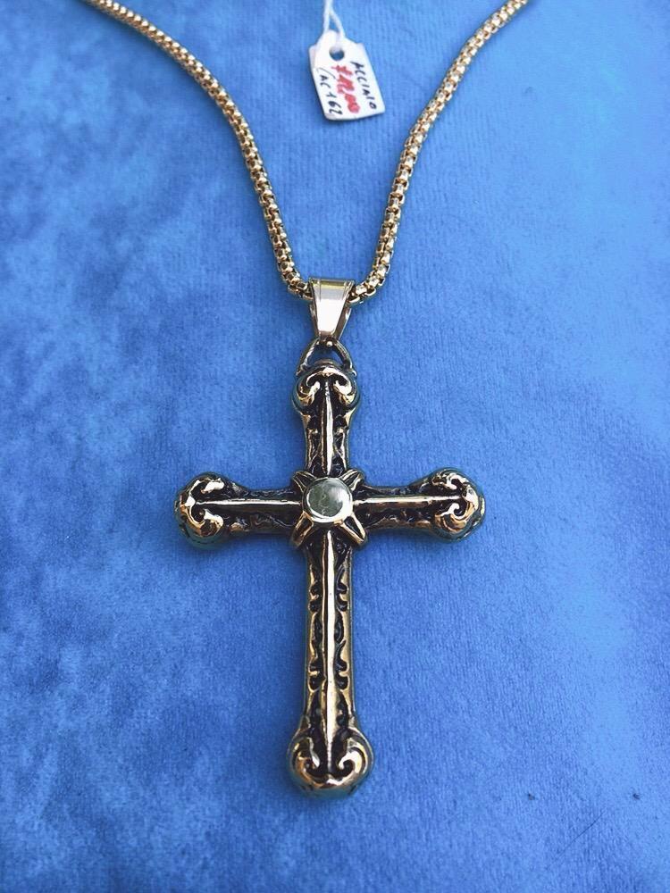 Collana Acciaio croce Oro CAc162