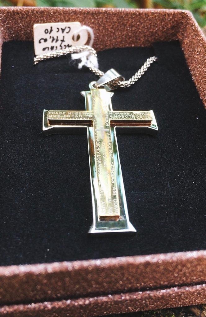 Collana Acciaio Croce Bicolore CAc10