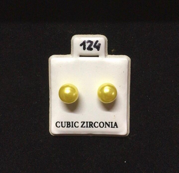 Orecchini Palline Gialle CZ124