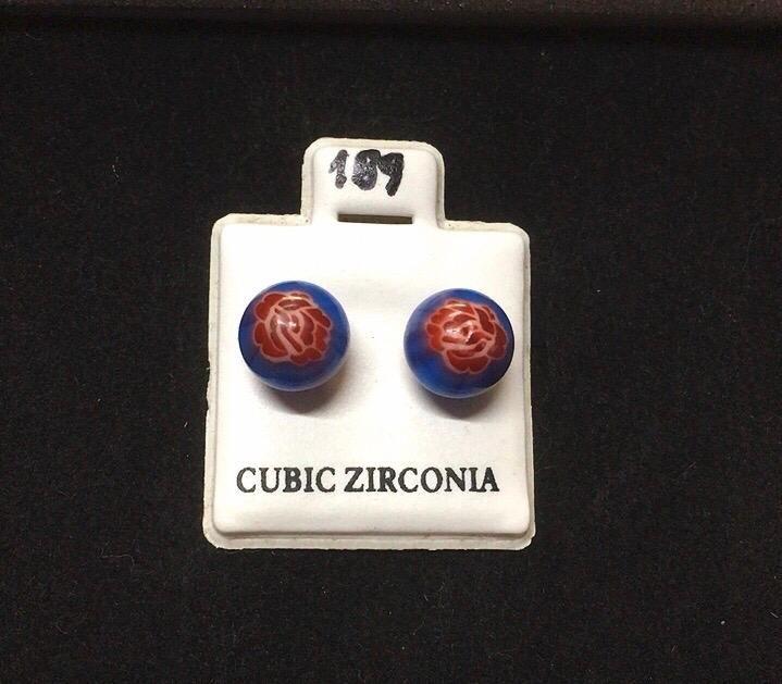Orecchini Palline Blu CZ189