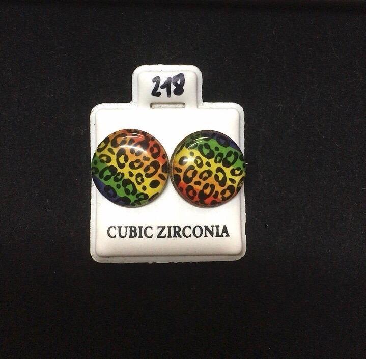 Orecchini Bottone Leopardati CZ218