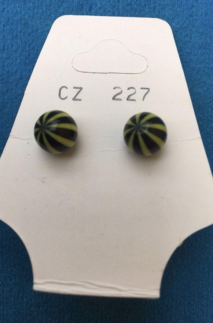 Orecchini Palline Strisce CZ227