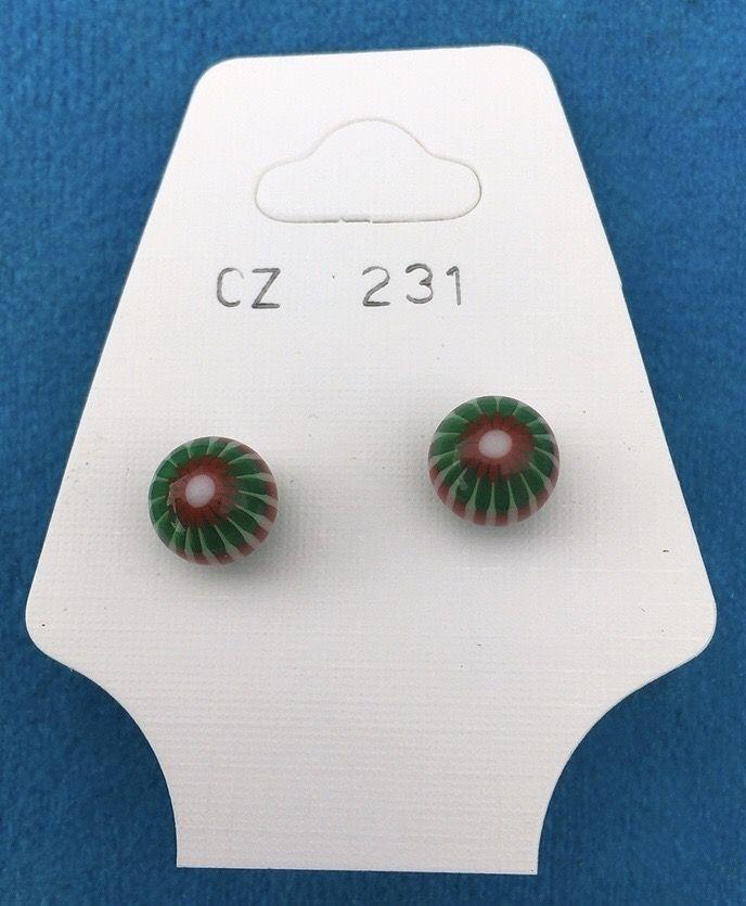 Orecchini Palline Strisce CZ231