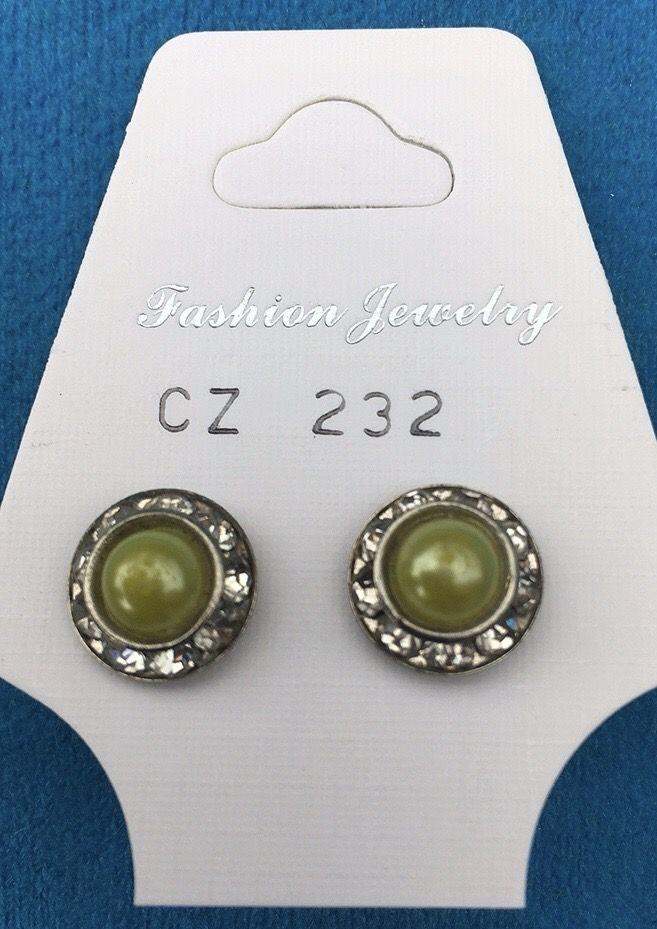 Orecchini Mezze Perle Verdi CZ232