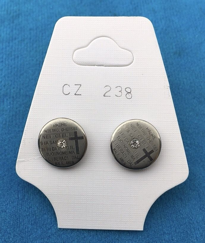 Orecchini Bottone Preghiera CZ238