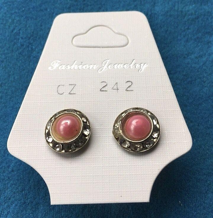 Orecchini Mezze Perle Rosa CZ242