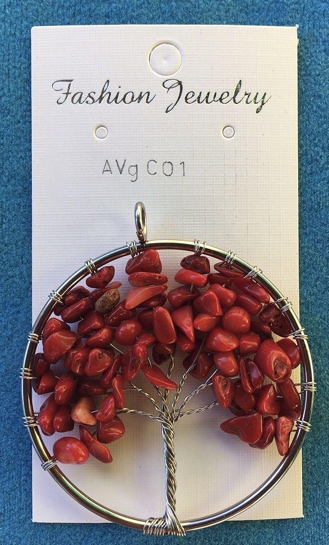 Medaglione Albero Vita Corallo Bamboo AVgC01