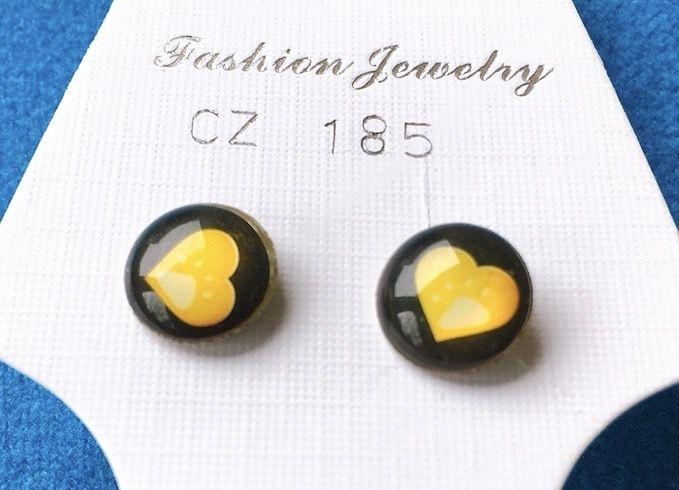 Orecchini Bottone Cuori CZ185
