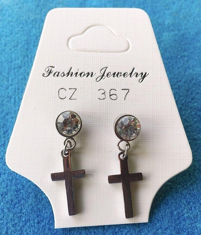 Orecchini Cristallo e Croce CZ367