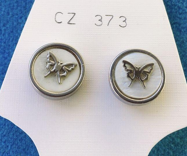 Orecchini Bottone Farfalle CZ373