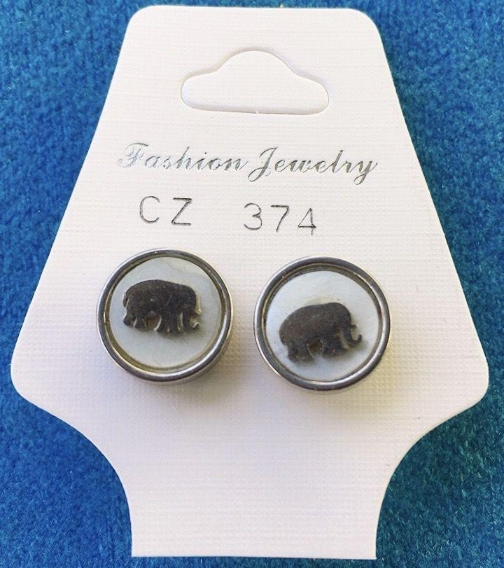 Orecchini Bottone Elefante CZ374