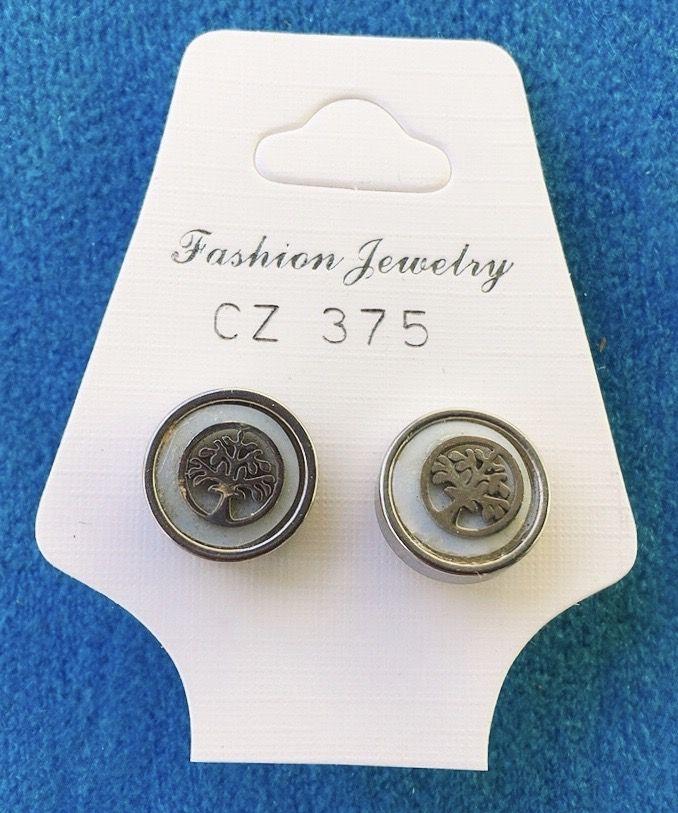 Orecchini Bottone Albero Vita CZ375