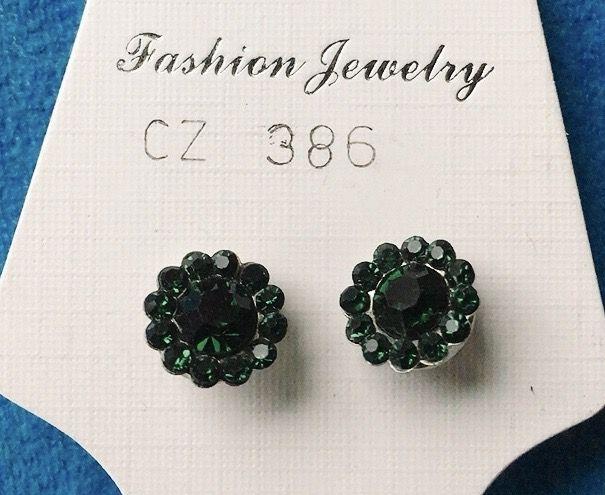 Orecchini Cristalli Verdi CZ386