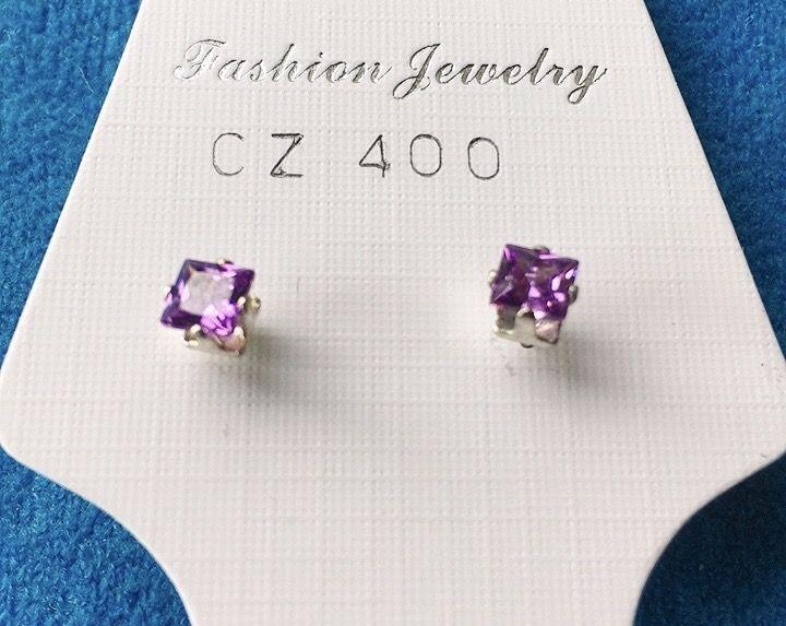 Orecchini Cristalli Viola CZ400