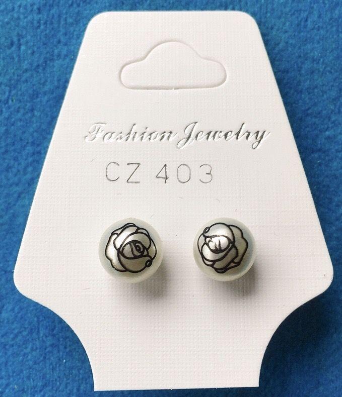 Orecchini Perle e Rosa CZ403