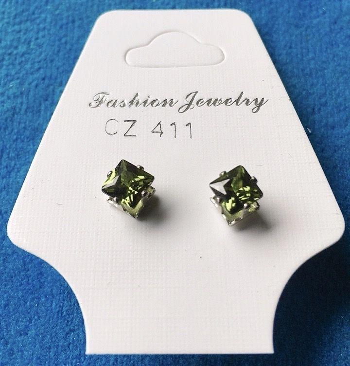 Orecchini Cristalli Verdi CZ411