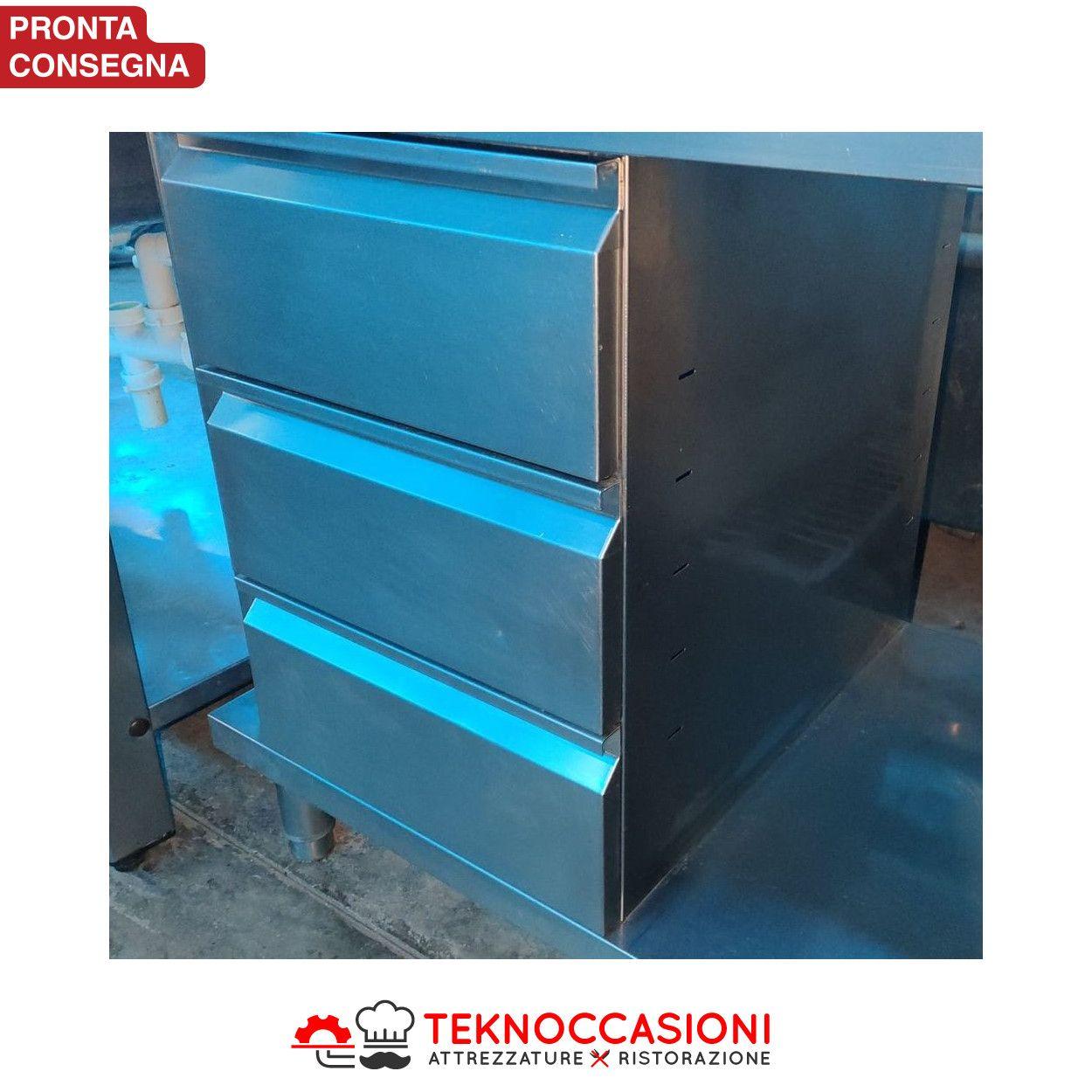 Tavolo in acciaio inox con cassettiera da 120x60