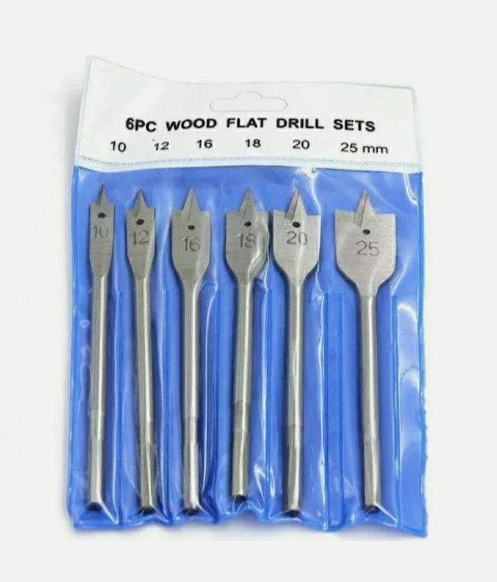 Set 6 punte piatte a vanga in acciaio per legno