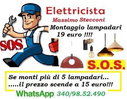 Servizio montaggio lampadari con 19 euro